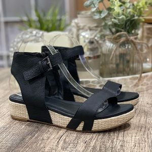Eileen Fisher Espadrille Jute Leather Sandals 9.5